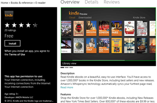Windows 8 Kindle App in Marketplace