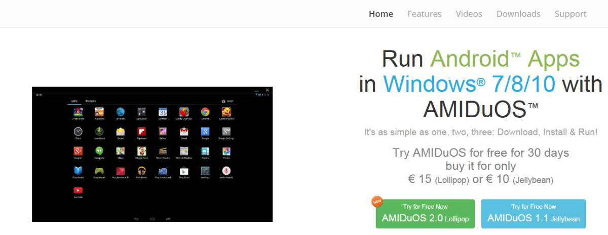 AMIDuOS - The first Android emulator for Windows that I have found to actually work well.